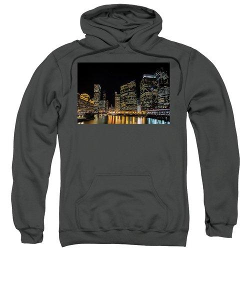 Chicago Night Skyline From Wolf Point Sweatshirt