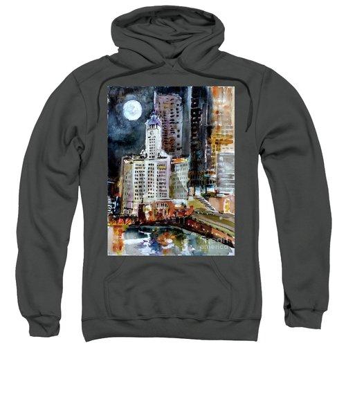 Chicago Night Wrigley Building Art Sweatshirt