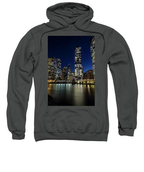 Chicago River And Skyline At Dusk  Sweatshirt