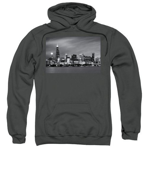 Sweatshirt featuring the photograph Chicago Skyline At Night Black And White  by Adam Romanowicz