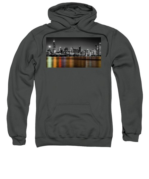 Chicago Skyline - Black And White With Color Reflection Sweatshirt