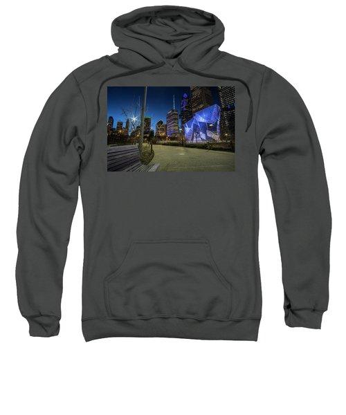 Chicago Skyline Form Maggie Daley Park At  Dusk Sweatshirt