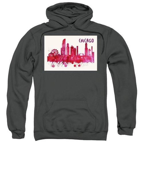 Chicago Skyline Watercolor Poster - Cityscape Painting Artwork Sweatshirt