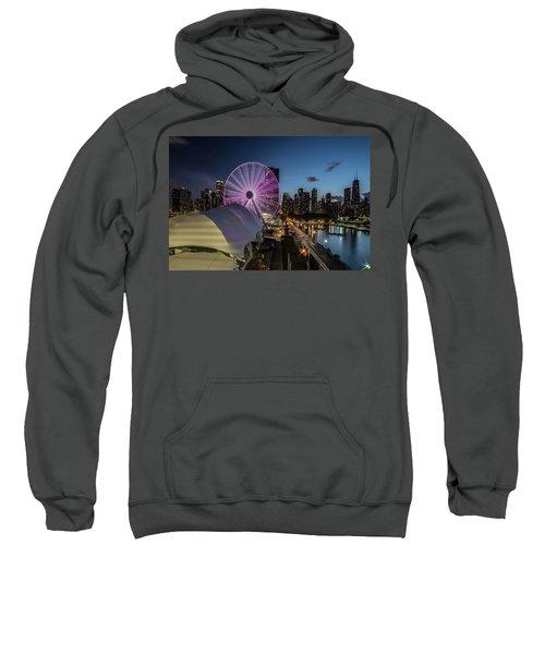 Chicago Skyline With New Ferris Wheel At Dusk Sweatshirt