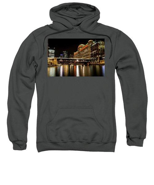 Chicago's Merchandise Mart At Night Sweatshirt