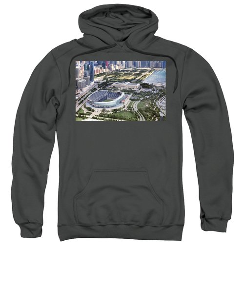 Sweatshirt featuring the photograph Chicago's Soldier Field by Adam Romanowicz