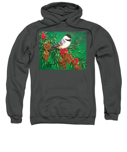 Chickadee And Pine Cones Sweatshirt