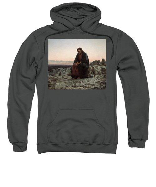 Sweatshirt featuring the painting Christ In The Desert by Ivan Kramskoi