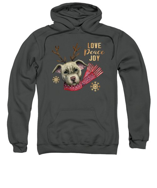 Christmas Reindeer Pit Bull With Faux Gold Snowflakes Sweatshirt