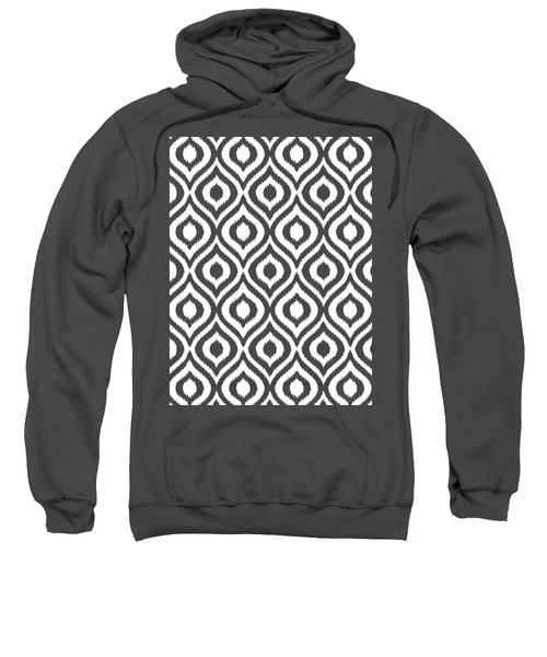 Circle And Oval Ikat In White T05-p0100 Sweatshirt