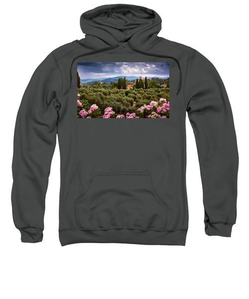Tuscan Landscape With Roses And Mountains In Florence, Italy Sweatshirt