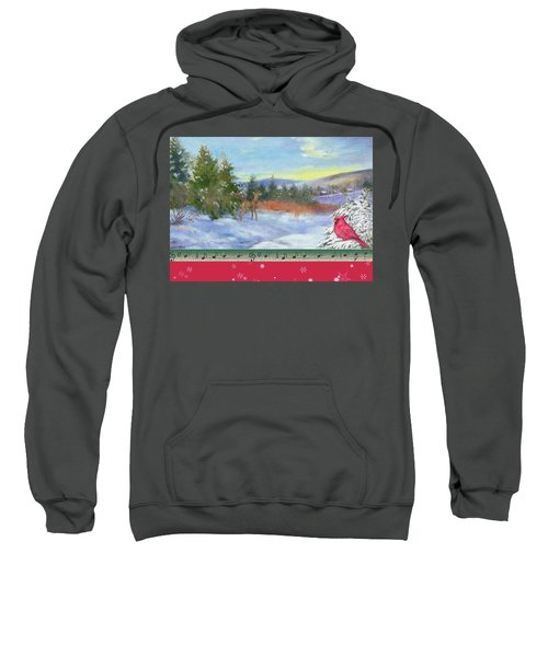 Classic Winterscape With Cardinal And Reindeer Sweatshirt