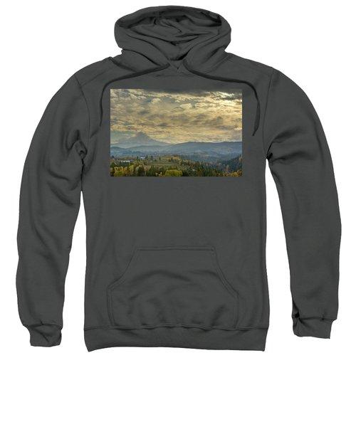 Clouds And Sun Rays Over Mount Hood And Hood River Oregon Sweatshirt