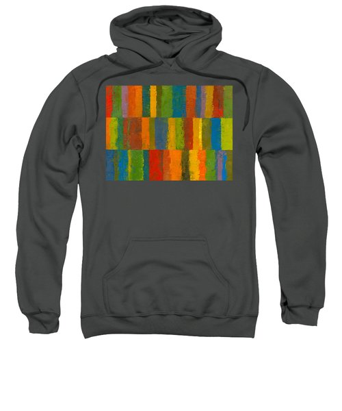 Sweatshirt featuring the painting Color Collage With Stripes by Michelle Calkins
