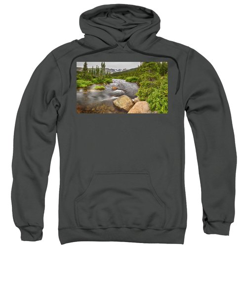 Colorado Indian Peaks Wilderness Creek Panorama Sweatshirt