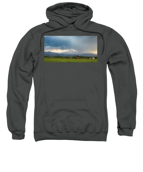 Sweatshirt featuring the photograph Colorado Rocky Mountain Red Barn Country Storm by James BO Insogna
