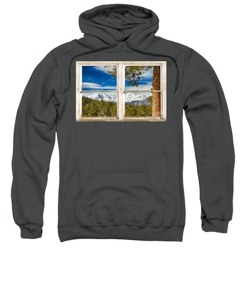 Colorado Rocky Mountain Rustic Window View Sweatshirt