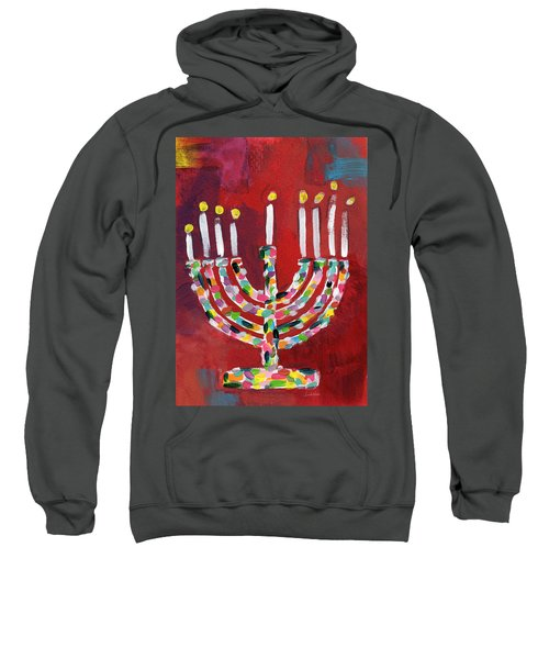 Colorful Menorah- Art By Linda Woods Sweatshirt