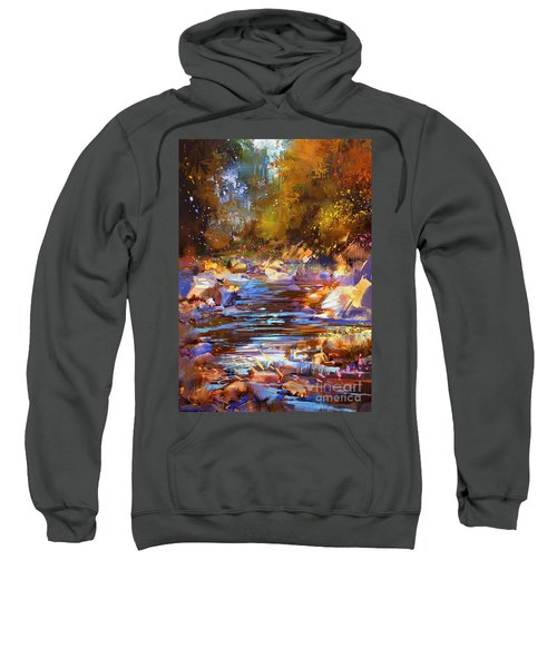 Sweatshirt featuring the painting Colorful River by Tithi Luadthong