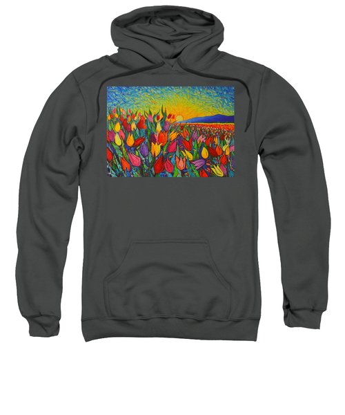 Colorful Tulips Field Sunrise - Abstract Impressionist Palette Knife Painting By Ana Maria Edulescu Sweatshirt