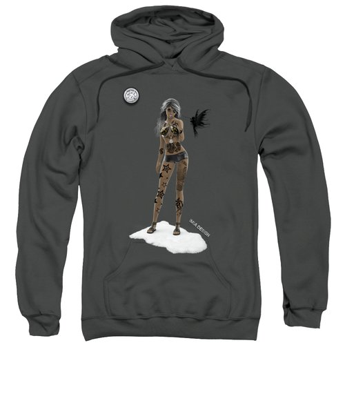 Cool 3d Girl With Bling And Tattoos In Black Sweatshirt