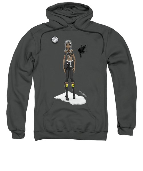 Cool 3d Manga  Girl With Bling And Tattoos In Black Sweatshirt