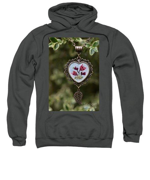 Coral Bell Pressed Flower Pendant Sweatshirt