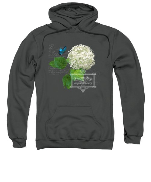 Cottage Garden White Hydrangea With Blue Butterfly Sweatshirt by Audrey Jeanne Roberts
