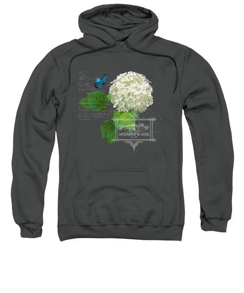 Cottage Garden White Hydrangea With Blue Butterfly Sweatshirt