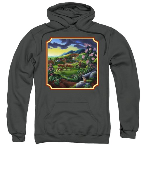 Country Landscape - Deer In The High Meadow - Square Format Sweatshirt
