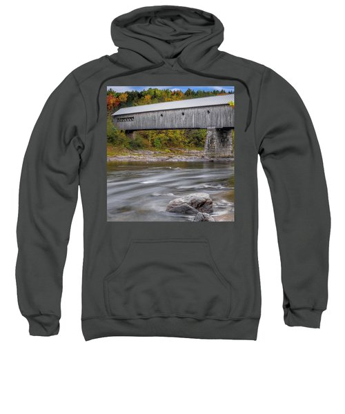 Covered Bridge In Vermont With Fall Foliage Sweatshirt