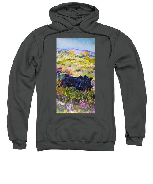 Cow Lying Down Among Plants Sweatshirt