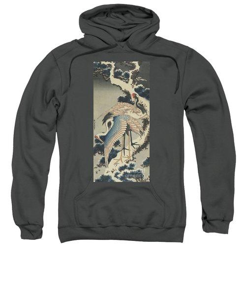 Cranes On Pine Sweatshirt by Hokusai