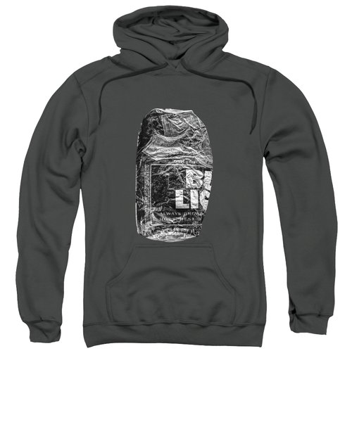 Crushed Blue Beer Can On Plywood 78 In Bw Sweatshirt