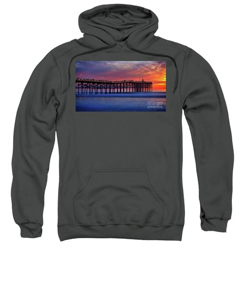 Crystal Pier In Pacific Beach Decorated With Christmas Lights Sweatshirt