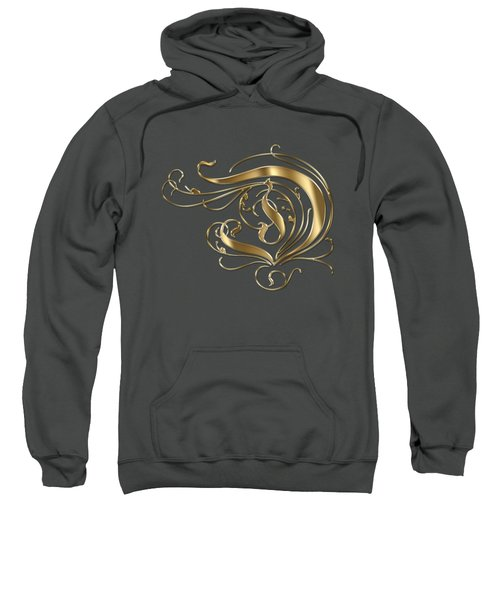 D Ornamental Letter Gold Typography Sweatshirt