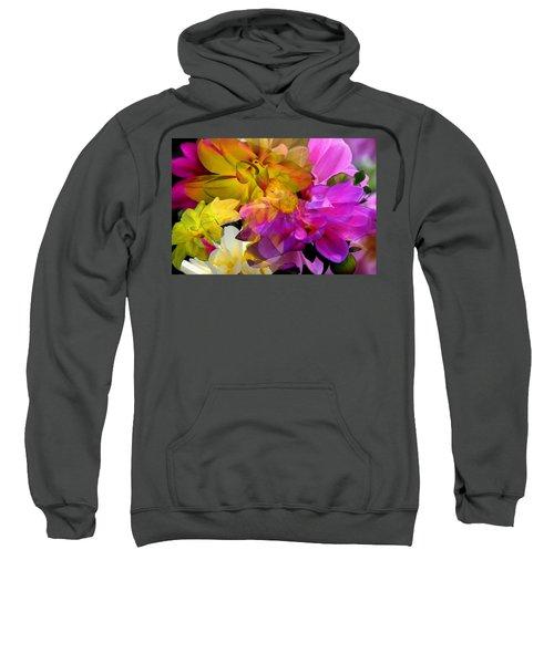 Sweatshirt featuring the digital art Dahlia Fantasy by Hanne Lore Koehler