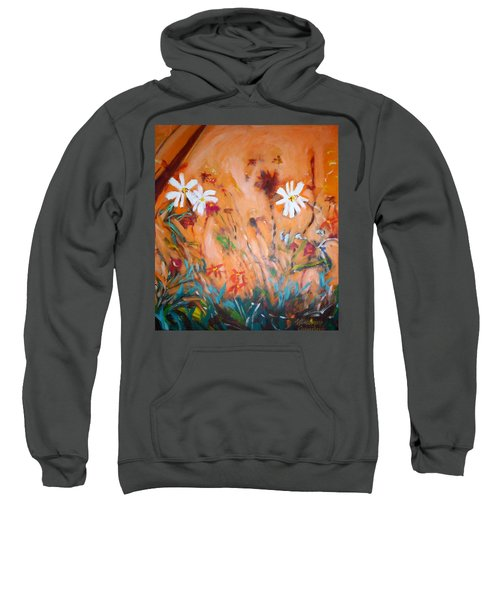 Sweatshirt featuring the painting Daisies Along The Fence by Winsome Gunning