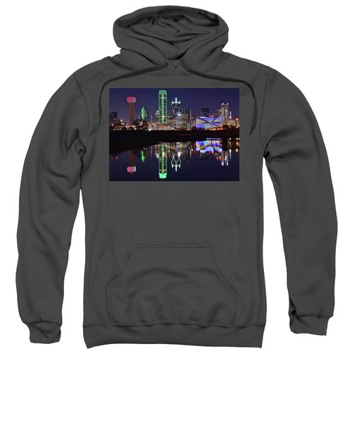 Dallas Reflecting At Night Sweatshirt by Frozen in Time Fine Art Photography