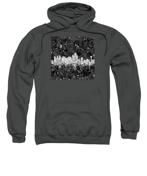 Dallas Skyline Map Black And White 5 Sweatshirt