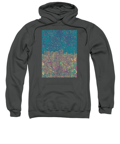 Dallas Skyline Map Green Sweatshirt