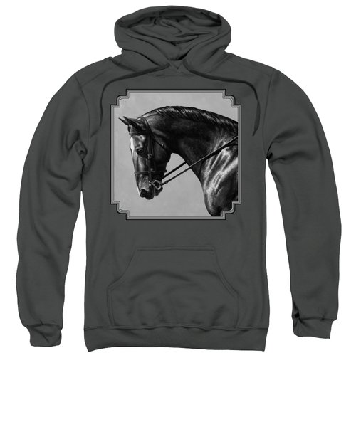 Dark Brown Dressage Horse Black And White Sweatshirt