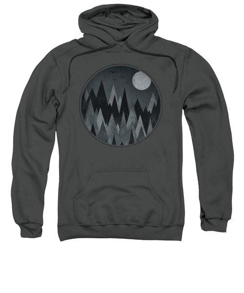 Dark Mystery Abstract Geometric Triangle Peak Woods Black And White Sweatshirt