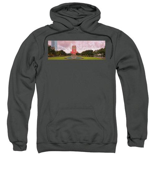 Dawn Panorama Of Houston City Hall At Hermann Square - Downtown Houston Harris County Sweatshirt