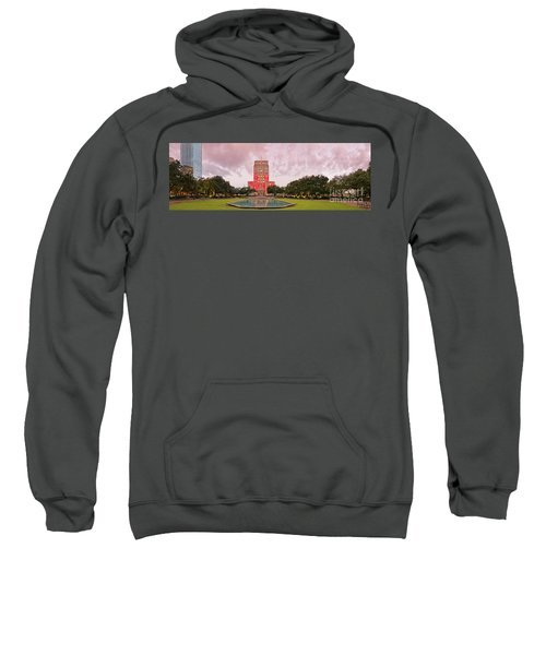 Dawn Panorama Of Houston City Hall At Hermann Square - Downtown Houston Harris County Sweatshirt