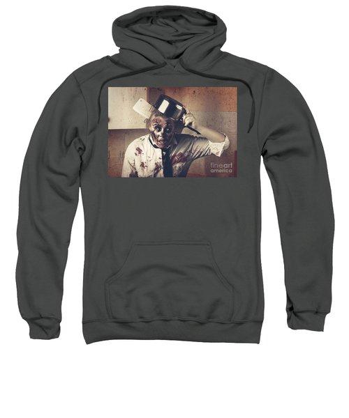 Dead Scary Zombie Girl Cooking Brains Sweatshirt