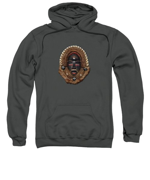Dean Gle Mask By Dan People Of The Ivory Coast And Liberia On Red Leather Sweatshirt