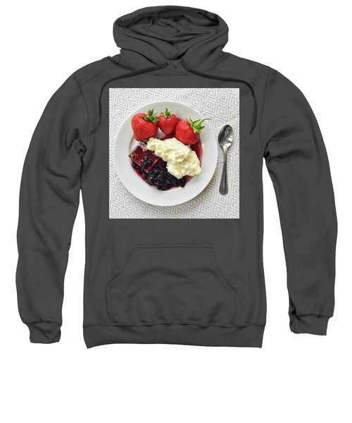 Dessert With Strawberries And Whipped Cream Sweatshirt by GoodMood Art