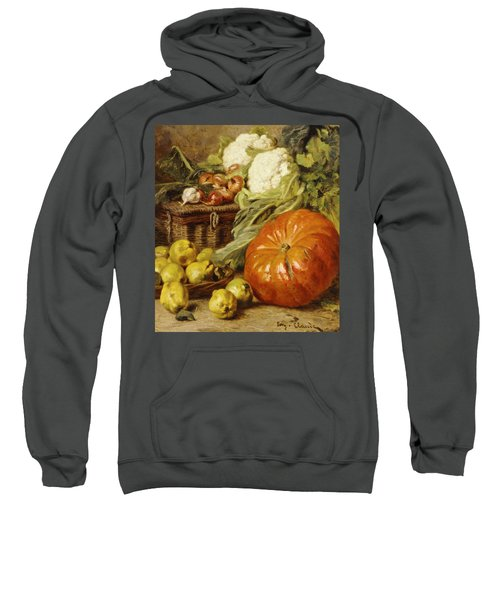 Detail Of A Still Life With A Basket, Pears, Onions, Cauliflowers, Cabbages, Garlic And A Pumpkin Sweatshirt