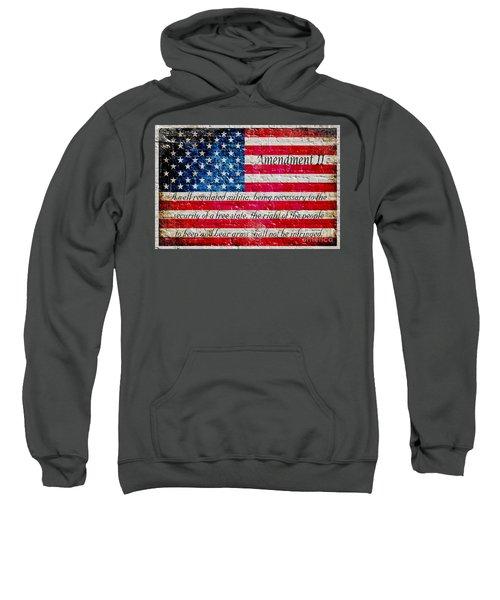 Distressed American Flag And Second Amendment On White Bricks Wall Sweatshirt